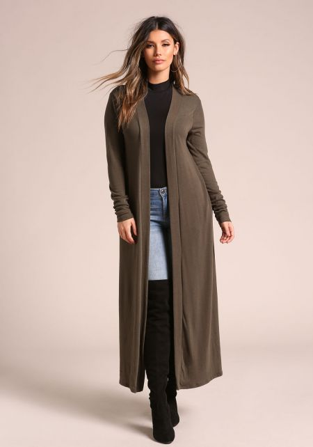 Olive Longlined Duster Cardigan