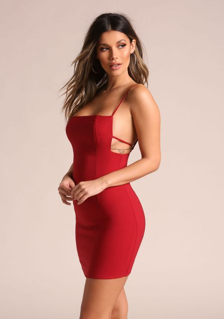 Red Multi Thin Strap Bodycon Dress