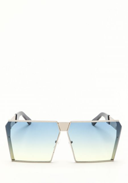 Zero UV Blue Oversize Gradient Square Sunglasses