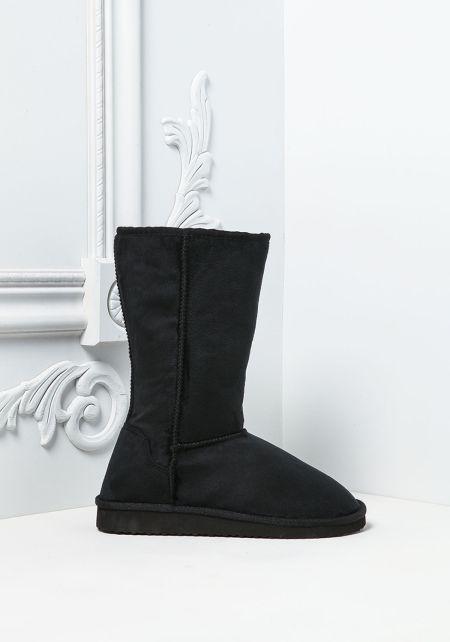 Black Faux Fur Suedette Boots