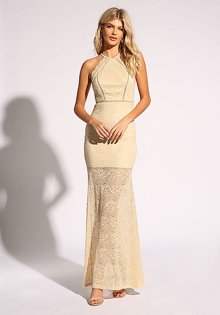 Nude Lace Open Back Maxi Gown
