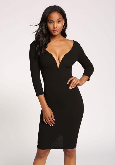 Black Plunge Textured Bodycon Dress