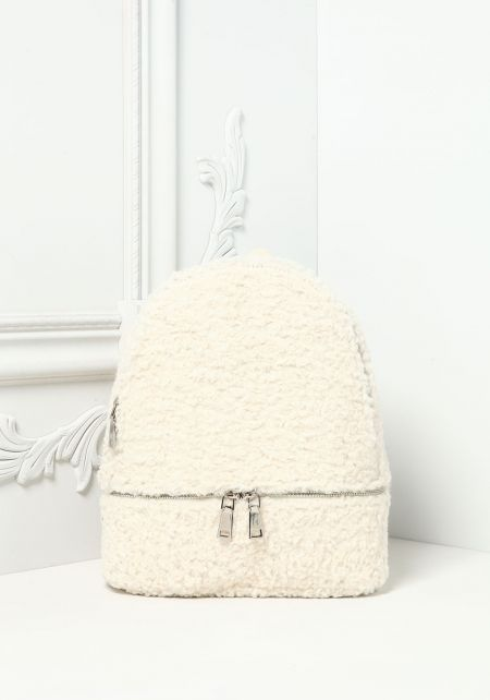 Ivory Faux Shearling Backpack