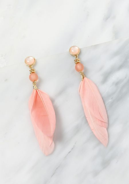 Pink Stone Feather Earrings
