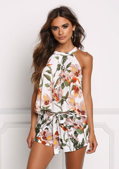 Ivory Floral High Neck Tie Top