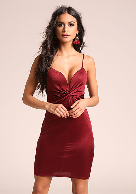 Burgundy Twisted Plunge Lustrous Bodycon Dress