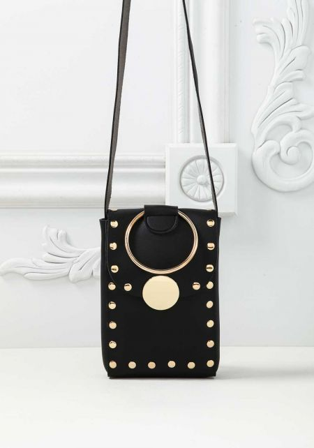 Black Leatherette Studded Mini Crossbody Bag