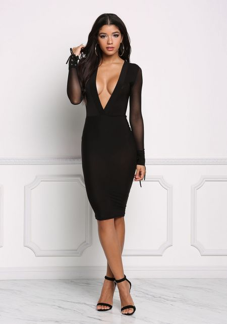 Black Deep V Mesh Bodycon Dress