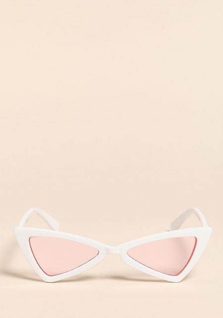 White and Pink Colored Geometric Sunglasses