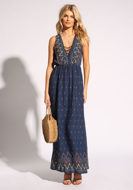 Navy Plunge Lace Up Paisley Maxi Dress