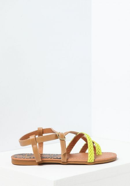 Tan Criss Cross Braided Toe Sandal