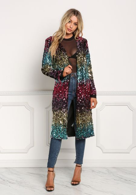 Multi Sequin Color Block Longlined Jacket