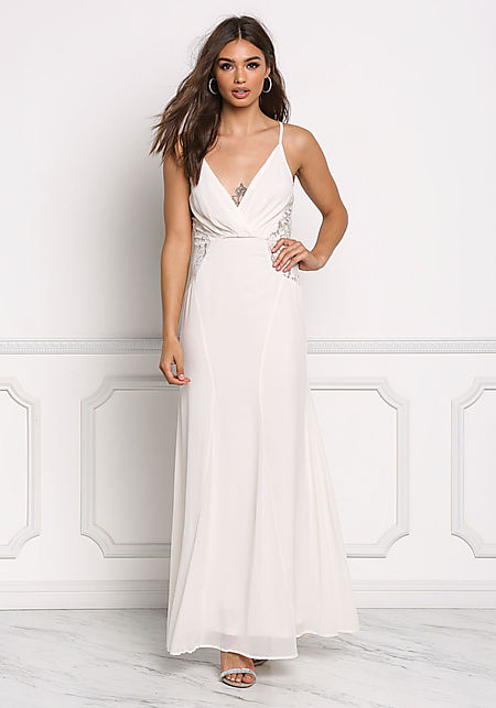 Cream Lace Trim Chiffon Maxi Gown