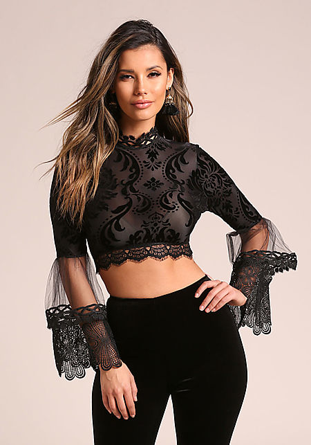 Black Velvet Burn Out Tulle Embroidered Bell Sleev