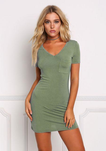 Teal Pocket Front T-Shirt Dress