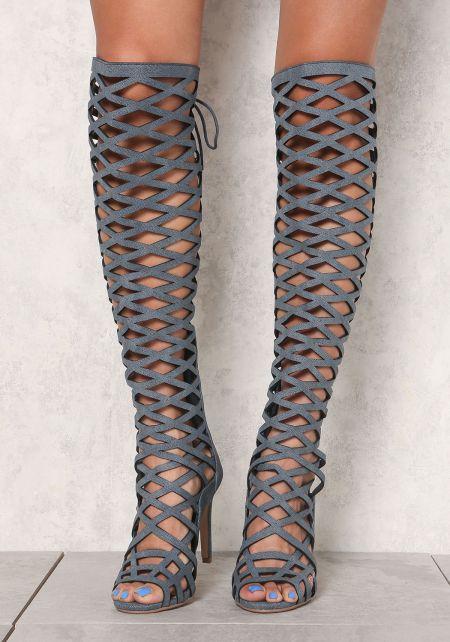 Denim Suedette Laser Cut Knee High Heels