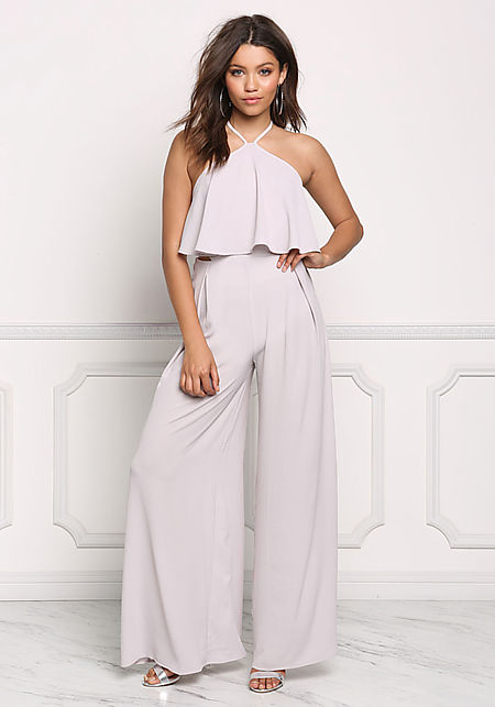 Bone Layered Wide Leg Halter Jumpsuit