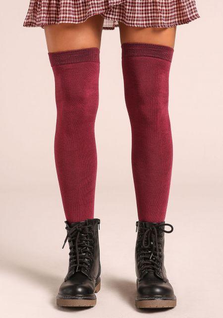 Burgundy Thigh High Knit Socks