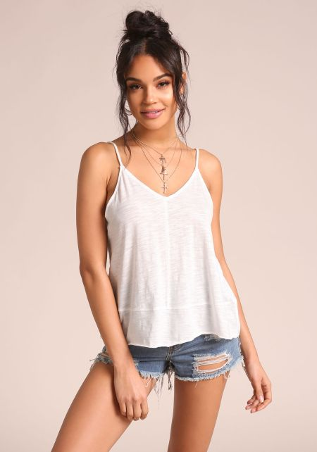 Off White Marled Cami Tank Top