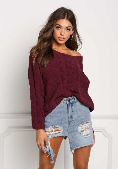 Wine Soft Cable Knit Sweater Top