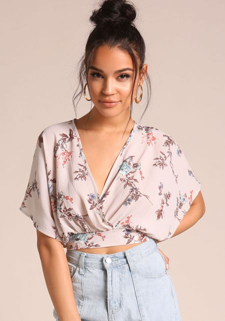 Khaki Floral Tie Back Crop Top