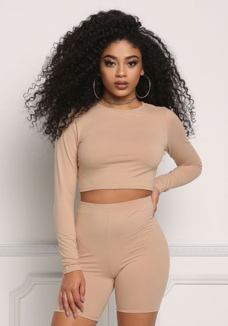 Nude Long Sleeve Crop Top