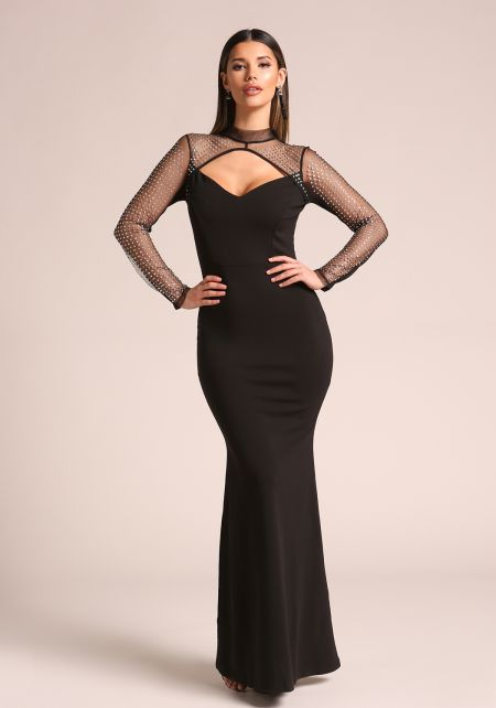Black Studded Tulle Mermaid Gown