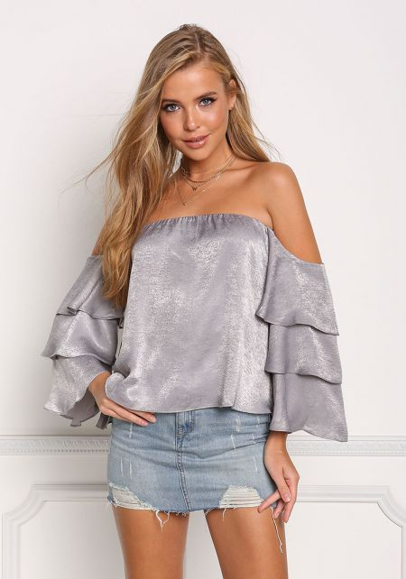 Silver Off Shoulder Layered Bell Sleeve Blouse