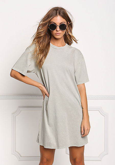 Sage Light Vintage Wash T-Shirt Dress