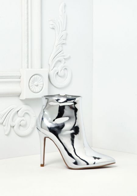 Silver Chrome Pointed Booties