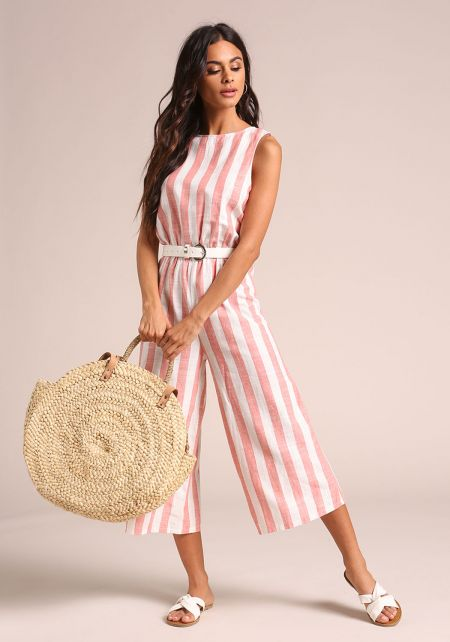 Pink Pinstripe Cropped Wide Legged Jumpsuit