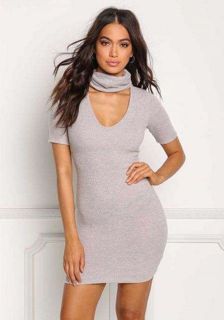 Light Mocha Soft Knit Turtleneck Plunge Bodycon Dress