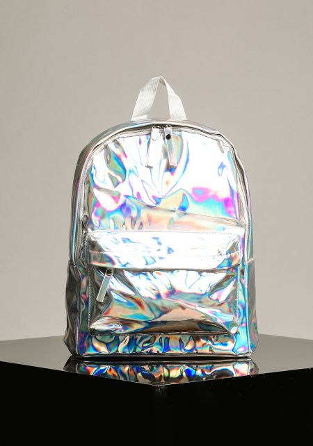 Silver Patent Metallic Backpack