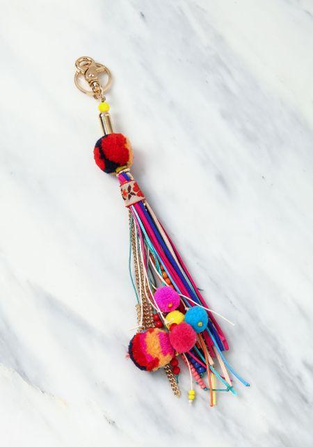 Multi Colored Pom Pom Tassel Key Chain