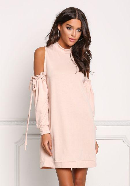 Blush Ruched Cold Shoulder Shift Dress