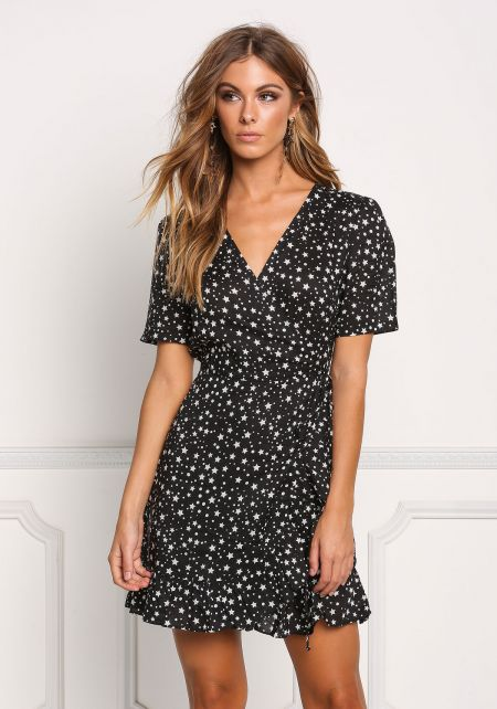 Black Starry Wrap Shift Dress