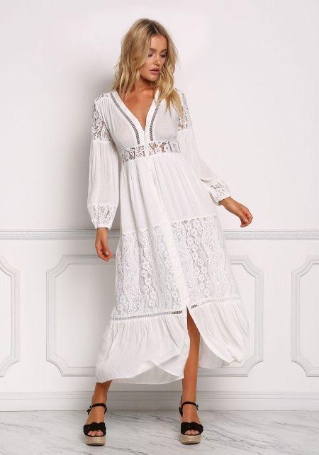 Off White Lace Trim Button Down Maxi Dress