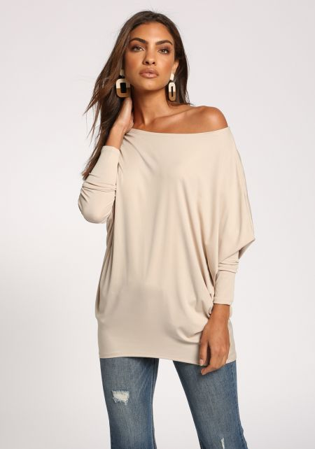 Beige Off Shoulder Dolman Knit Top