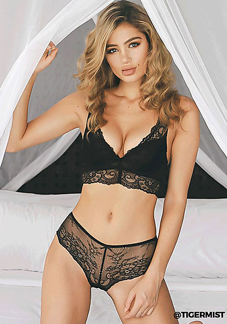 Tiger Mist Black Lace Two Piece Lingerie Set