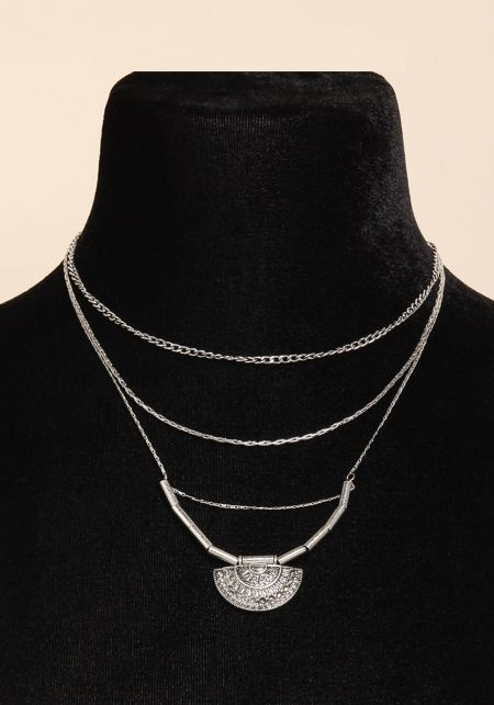 Silver Engraved Layered Necklace