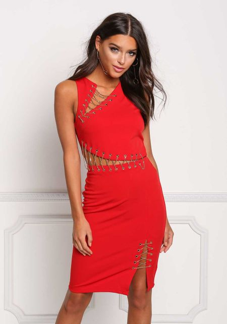 Red Cross Chain Cut Out Bodycon Dress