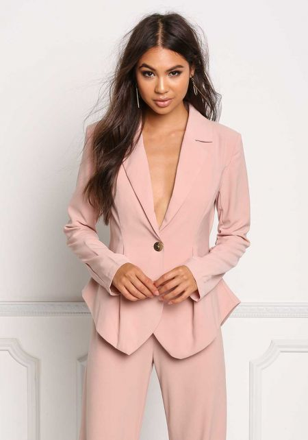 Blush Peplum Single Button Plunge Blazer