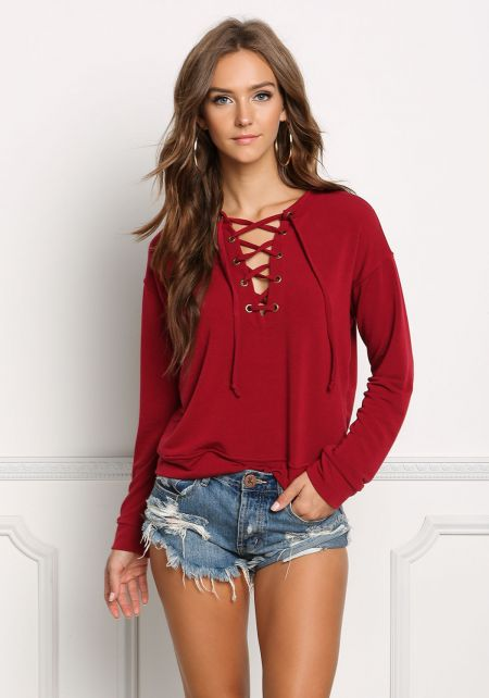 Burgundy Pullover Lace Up Sweater Top