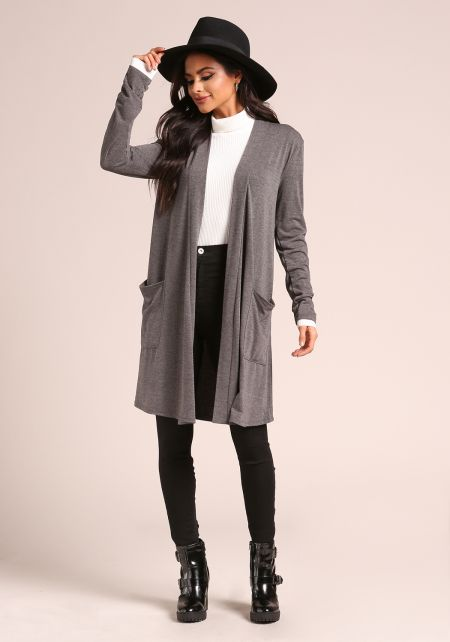 Charcoal Jersey Knit Longlined Pocket Cardigan