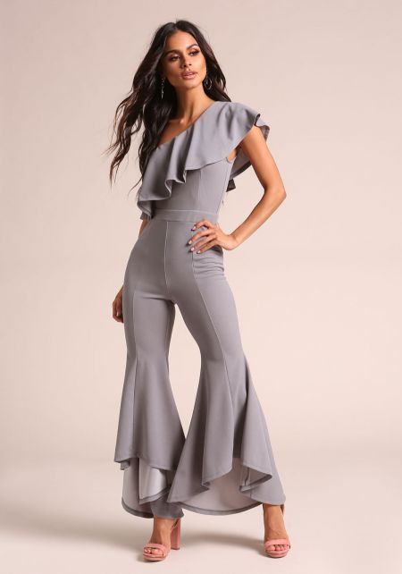 Grey Ruffle One Shoulder Bell Bottom Jumpsuit