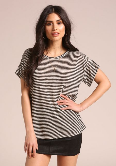 Black Stripe Slub Knit Tee