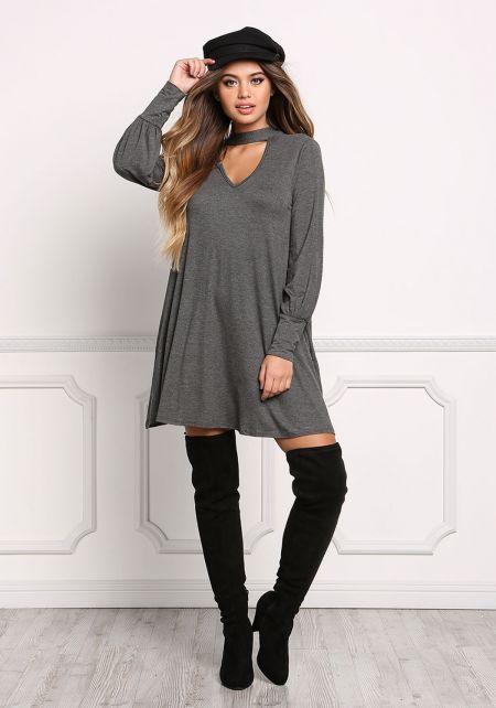 Charcoal Tie Back Cut Out Jersey Knit Shift Dress