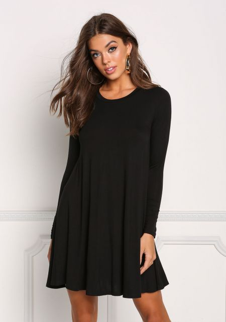 Black Jersey Knit Long Sleeve Shift Dress
