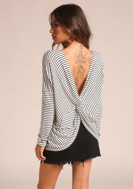 White and Black Back Twisted Stripe Top