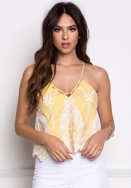 Yellow Chambray Embroidered Cross Strap Tank Top